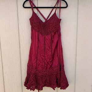 Silk burgundy dress ( few flaws check pictures)